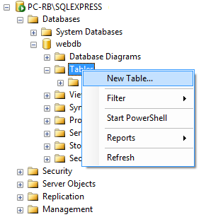 asp.net create database table